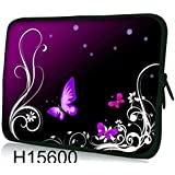 "Laptoptasche Notebooktasche 15"" - 15.6"" zoll Fall Neopren für Notebooks Dell HP Macbook Samsung Apple Toshiba*Purple butterflies*"