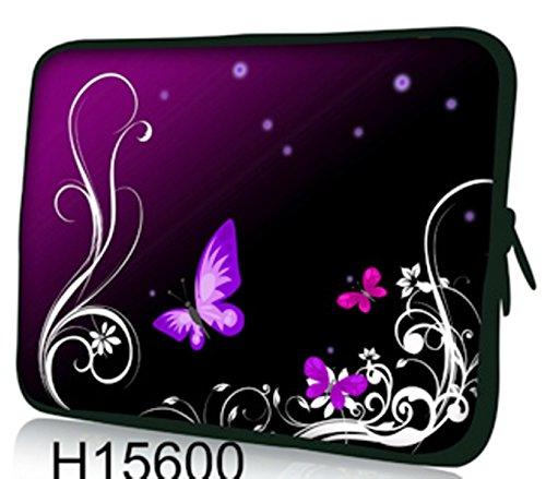 "Laptoptasche Notebooktasche 15"" - 15.6"" zoll Fall Neopren für Notebooks Dell HP Macbook Samsung Apple Toshiba*Purple butterflies*"