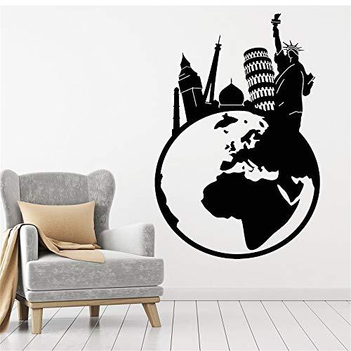 kyprx Vinyl Wand Applique Reise Welt Eiffelturm Freiheitsstatue Big Ben Kunst Aufkleber Wandbild Wohnzimmer Schlafzimmer Wohnkultur lila 57x92 cm