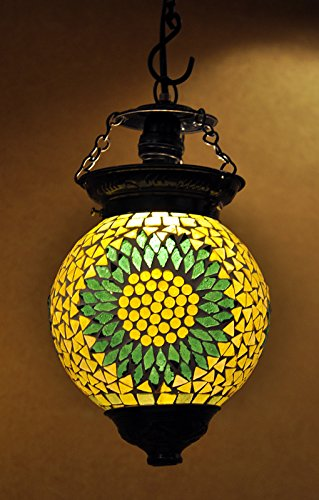 Vintage Mosaic Glass Decorative Pendant Hanging Lamp Christmas Ceiling Light 33 x 15 Cm