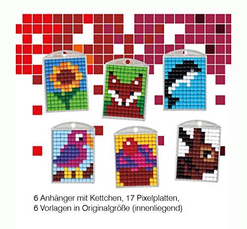 Pracht Creatives Hobby P90016-63501 - Pixel Spaß Bastelset 9, für 6 Medaillons, Schlüsselanhänger, für Kinder, Jungen und Mädchen, ideal als kleines Geschenk, Mitgebsel, für den Kindergeburtstag