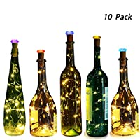 Bottle Lights with Shining Cork,Genround Wine Bottle Lights,Led Fairy Cork Lights for Bottles,30in Copper Wire Lights for Decor,Room,Parties,Christmas,Wedding - [10 Pack,Battery Powered,Warm White]
