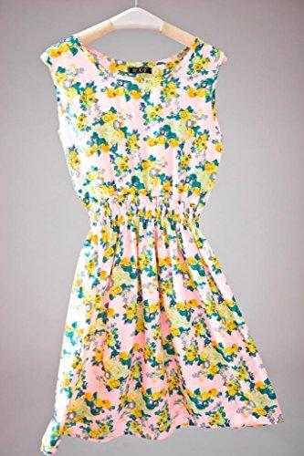 Bigood Robe Femme Mousseline de Soie Mini-robe Plage Col Rond Sans Multicolore U