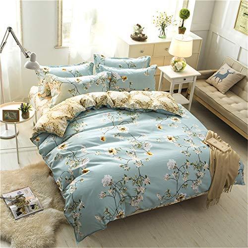 YUNSW Fashion Style Baumwolle Beige Blume Erfrischende Bettwäsche Set Voll Königin King Size Bett Quilt Bettbezug B 210x210 cm (Bettwäsche-set - Königin Blumen)