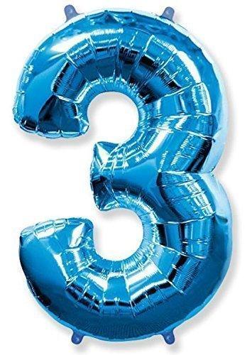 Numéro 3 Blue Jumbo Ballon aluminium forme