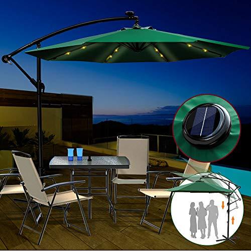 Parasol Déporté de Jardin Impermérable avec 18 Lampes Led Solaire Parasol de Plage Vert en Plein Air Anti-UV Parasol de Terrasse à Manivelle 270cm (D) x 240 cm (H) Masthome ...