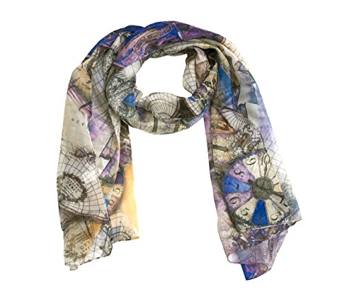 ManuMar Schal Weltkarte Globus Atlas Schiffe Damenschal Tuch Scarf lila grau! Weicher Schal als edles Accessoire! Weihnachtsgeschenk Freundin Damen