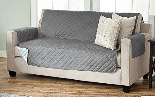 Sesselschoner Sofaschoner Sesselschutz Sofaüberwurf (3-Sitzer 191 x 279 cm, anthrazit/hellgrau)