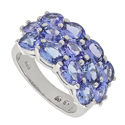 Harry Ivens Damen Ring Sterling-Silber 925 rhodiniert Tansanit AA RW16 (Tansanit Ring Sterling Silber)