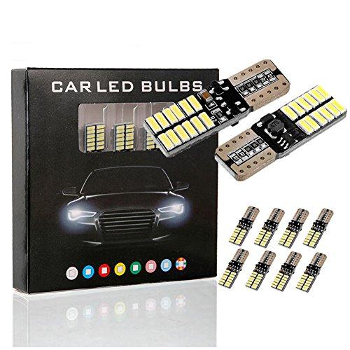 MODOCA 10 X T10 W5W LED Auto Lampada 194 168 24 Leds 4014SMD 12V, per Interior Segnale, Cupola, Cruscotto, Diretto Replacment Interni Segnale Lettura Cruscotto Luce Car interno, Bianco