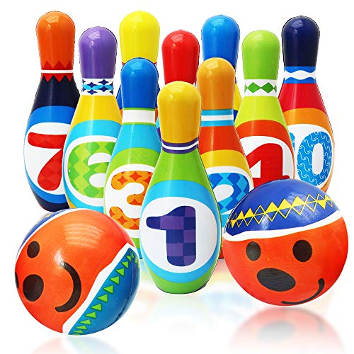 Kegelspiel Groß für Kinder Holz Set Bowling Kegel Kinderkegel Drinnen /& Draußen