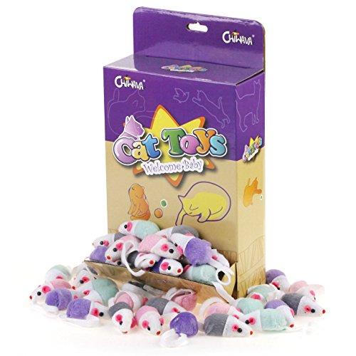 36 pezzi 4,5 cm Giochi Gatto Topolini Giocattoli per Gatti sonaglio carino doppio colore piccolo mouse Topi Giochi interattivi per Gatto Gattini Colori Assortiti