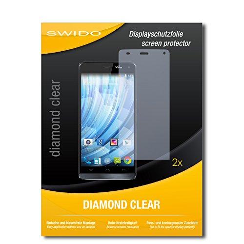 SWIDO 2 x Bildschirmschutzfolie Wiko Getaway Schutzfolie Folie DiamondClear unsichtbar