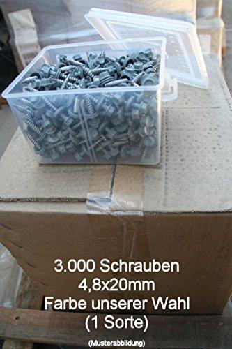 Preisvergleich Produktbild 3000 Überlappungsschrauben 4, 8x20 verzinkt + pulverbeschichtet,  selbstbohrend für Trapezblech,  Kantteile,  Dachpfannenprofil und andere Blechprofile