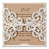 Jofanza Einladungskarten Für Hochzeit Geburtstag Taufe Party Elfenbeinenfarbe Borte Lasercut Mit Schleife Kraftpapier Blanko Set 20 Stücke inkl Umschläge