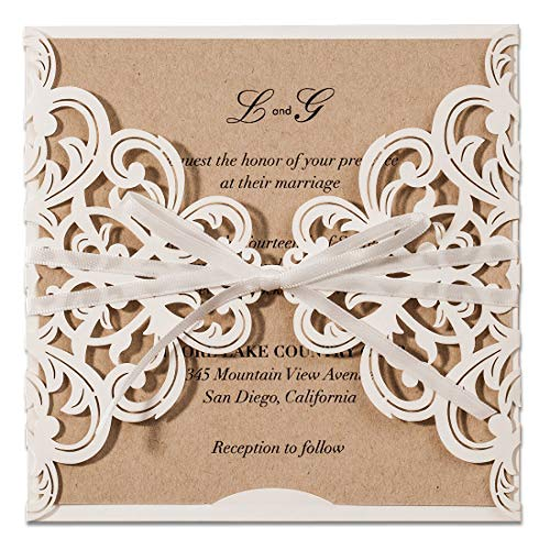 067e1ba586 JOFANZA Wedding Invitations Kits 20PCS With Ivory Laser Cut Floral Invites  Cards for Wedding Marriage Birthday Graduation Party Favors CW6175W