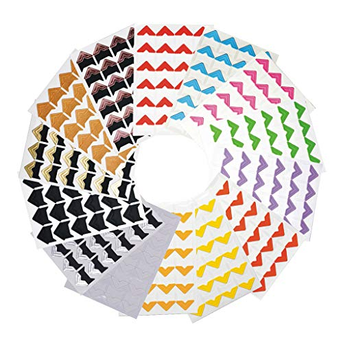 Funyu 336 Stück Fotoecken Selbstklebend Ecken mit 14 Blätter für Fotos Montage Ecken Aufkleber Papier für DIY Fotoalbum Scrapbook Album Tagebuch Bild Dekoration(Bunt) -