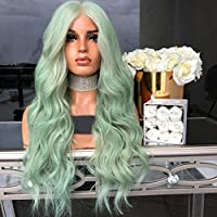 pelucas Zariavo Moda Pelucas de Onda Larga Verde Natural para Mujeres -  Suave y Suave b0a57b8ff074