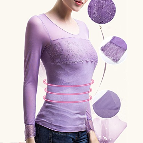 Zhhlaixing Beautiful Soft Seamless Body Lingerie Wear Thermal Underwear Bellissimo Lace Stitching for Women Purple