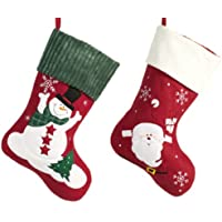 Heitmann Deco 2er Set Filz-Nikolausstiefel zum Befüllen und Aufhängen - Nikolaus-Strumpf - rot/weiß/grün mit weihnachtlicher Stickerei