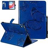 Compatible pour Coque iPad Pro 11 2018 Housse en Cuir Fille Papillon Portefeuille Résistant aux Rayures Bumper Case Pliable Antichoc Magnetique