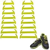 wealsex Nessun Lacci Cravatta Lacci per Scarpe per Adulti e bambini Impermeabile Set Elastico in Silicone Nessun Colore di Prova del Panno del Pizzo Vari Colori 16 Parti Un Paio (Giallo)