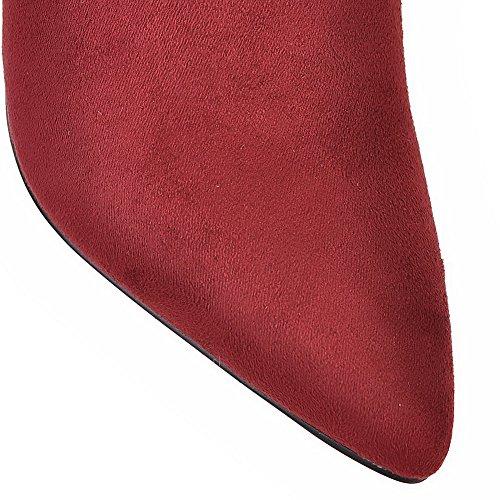 VogueZone009 Damen Hoher Absatz Gemischte Farbe Spitz Zehe Weiches Material Stiefel Weinrot