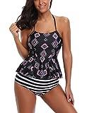 Unibelle Damen Badeanzug mit Plissierter Saum Sommer Bikini Schwarz S