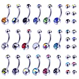 BodyJ4You 18PCS Belly Button Ring Assorted Colors with 18PCS Replacement Balls Surgical Steel 14 Gauge Navel Piercing Body Jewelry