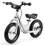 [Nouvelle Version] Draisienne Vélo Enfant 12'' pour Les Enfants de 2-6 Ans, Cadre en Acier au Carbone, Guidon réglable et Seat, capacité de 50kg,Cadeau Noel (Argent)