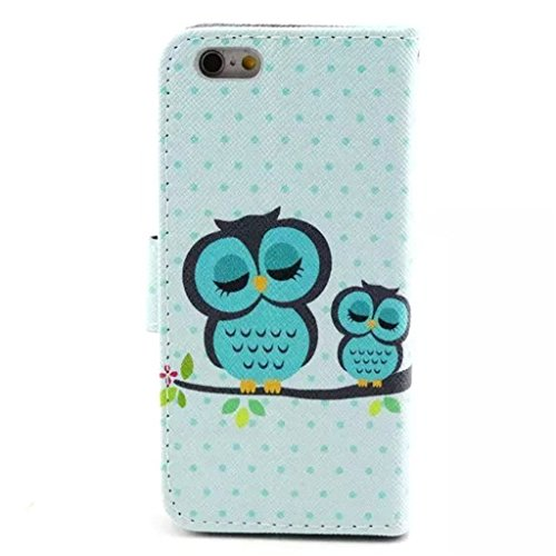 Gift_Source iPhone 6 hülle, iPhone 6S hülle, Brieftasche Ledertasche Bookstyle Schutzhülle Leder Flip case Etui for Apple iPhone 6S/6 4.7 inch [ Regenbogen ] E01-01-Sleeping Owl
