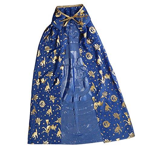 MagiDeal Kinder Halloween Hexe Zauberer Umhang Karneval Fasching Zauberer Kostüm Cape - Blau Gold