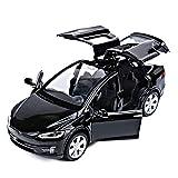 Sunta 1:32 Tesla 6610 Modello X90 Modello di Auto in Lega Giocattolo per Bambini Model Car Kit, Nero 15.3 * 6 * 4.8 (cm)