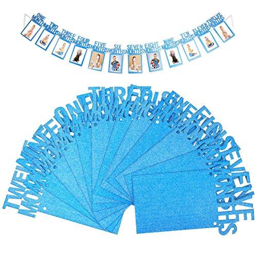 OOTSR erster Geburtstag Baby Foto Banner, Baby 1-12 Monat Blue Glitter Foto Prop für Party Bunting Dekoration