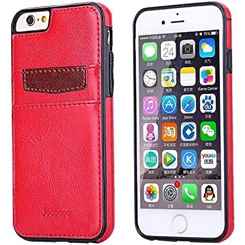 Ducomi® Duke of Palma custodia protettiva con tasca porta carte di credito in vera pelle compatibile con iPhone 6 plus 6s plus (Red)