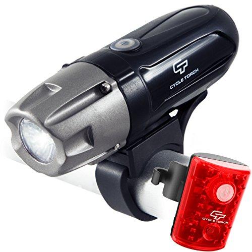 Juego de faros recargables para bicicleta con batería extraíble recargable 550R USB, 550 lúmenes, compatible con todas las bicicletas, Hybrid, Road, MTB, fácil de instalar y liberación rápida