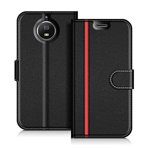 Coodio Motorola Moto G5S Hülle Leder Lederhülle Ledertasche Wallet Handyhülle Tasche Schutzhülle mit Magnetverschluss / Kartenfächer für Motorola Moto G5S, Schwarz/Rot