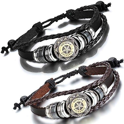 Flongo Bracelet Alliage Cuir Leather Corde Etoile Perle Tressé Mode Tribal Réglable Bijoux Cadeau Brun Noir pour Femme Homme noir