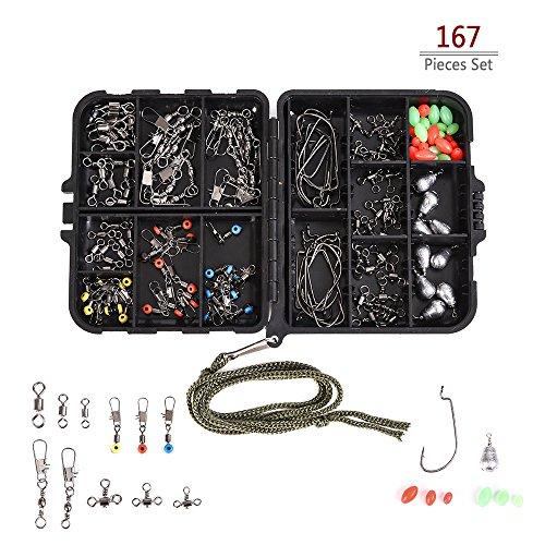 Lixada 167 Stücke Assorted Karpfenangeln Zubehör, einschließlich RollingBarrel, Wirbel Haken, Gewichtsenken, Oval Perlen, Haar Rig Terminal Tackle usw. mit Box