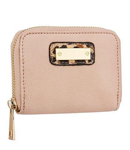 SIX - Damen Portemonnaie, Geldbörse, Geldbeutel, rosa nude mit goldener Plakette, Leoparden Fell, Fake Fur, kompakt (419-917) (Rosa Leopard-print)