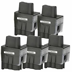 5 Cartouches d'encres compatible pour Brother LC900 LC-950 BK Brother DCP-110C DCP-115C DCP-120 DCP-310CN DCP-320CN Fax-1835C Fax-1840C Fax-1940CN Fax-2440C MFC-210 MFC-215C MFC-410CN MFC-420CN MFC-425