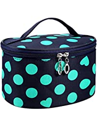 Hatop Women Dot Series Waterproof Makeup Bag Travel Toiletry Kits Portable Package Cosmetic Bag (Green)