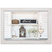 Feeby Frames, Cuadro en marco vintage, cuadro decorativo, cuadro de pared, (70x100cm) DECORACIÓN LOVE, BLANCO, BEIGE