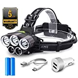 Best Led Headlights - Head Torch,Witmoving Headlamps Flashlight with 5 CREE LED,USB Review