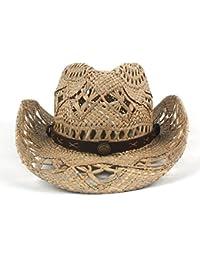 SRY-Tiene Womem Men Western Cowboy Hat Jazz Straw Sombrero de Vaquero Mujer Hombre Handwork Personalidad y Moda (Color : Black, Size : 56-58CM)