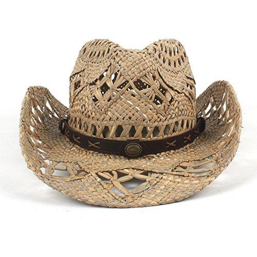 SRY-Tiene Womem Men Western Cowboy Hat Jazz Straw Sombrero de Vaquero Mujer  Hombre Handwork 383751a943a2
