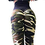 Bonboho Frauen Sport Camo Leggings High Waist Push up Yoga Fitness Gym Damen Sporthosen Strumpfhosen Slim Fit SkinnyHose Lauf Sportliche Hosen -
