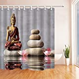 gohebe Spa Stein Bad Vorhang Buddha sitzt in Zen Garten mit Polyester-Blume-Wasserdicht Duschvorhang für Badezimmer 180,3x 180,3cm Vorhänge Dusche Haken im Lieferumfang enthalten
