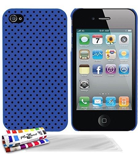 Ultraflache weiche Schutzhülle APPLE IPHONE 4S [Schwarze Flecken] [Lila] von MUZZANO + STIFT und MICROFASERTUCH MUZZANO® GRATIS - Das ULTIMATIVE, ELEGANTE UND LANGLEBIGE Schutz-Case für Ihr APPLE IPHO Blau + 3 Displayschutzfolien
