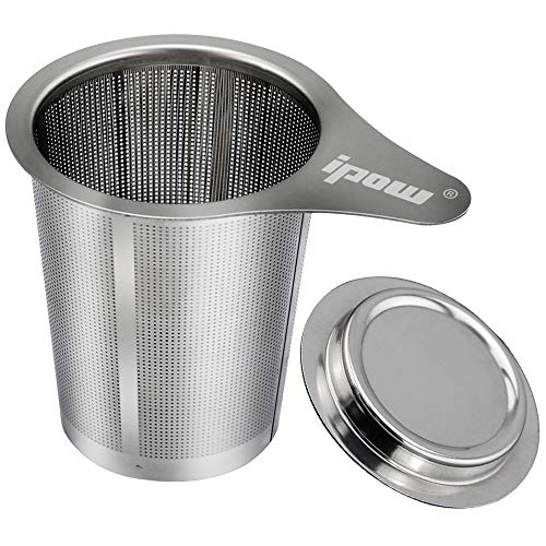 Ipow Stainless Steel Extra Fine Mesh Tea Infuser Steeper Strainer with Lid and Handle for Loose Leaf Grain Tea Cups, Teapot, Mugs, and Pots